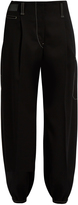 Lemaire Contrasting-stitch tapered wool trousers