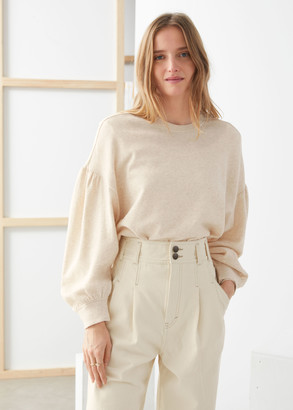 And other stories Organic Cotton Puff Sleeve Sweater