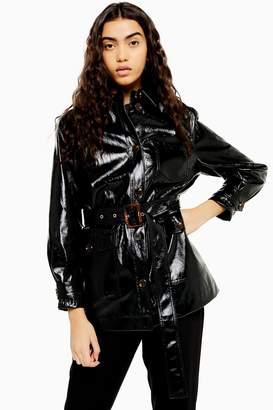 Topshop Womens Chicago Black Belted Vinyl Coat - Black