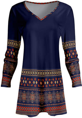 Lily Women's Tunics BLU - Blue & Orange Arabesque V-Neck Tunic - Women & Plus