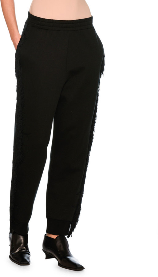 Stella McCartney Fringed Jogger Pants, Black