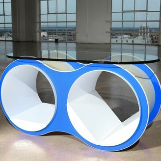 Scale 1:1 Bolla Pop Coffee Table Base Color: Arctic Blue, Top Color: Slotted Oval Glass Top