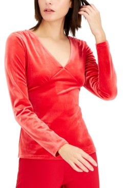 INC International Concepts Inc Petite Velvet V-Neck Top, Created for Macy's