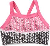 Black & Pink Sequin Dip-Dye Racerback Crop Top - Toddler & Girls