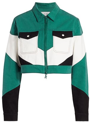 Kirin Colorblocked Cropped Worker Jacket