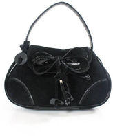 Moschino Cheap & Chic MOSCHINO CHEAP AND CHIC Black Suede Patent Leather Mini Clutch Handbag