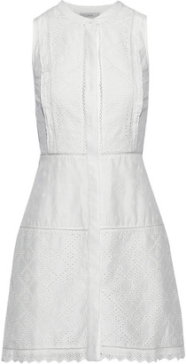 Joie Zakari Broderie Anglaise Cotton And Silk-blend Mini Dress