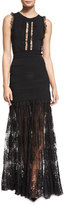 Elie Saab Sleeveless Knit Gown w/Lace Trim, Black