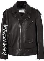 Balenciaga Oversized Painted Textured-leather Biker Jacket - Black