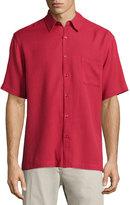 Neiman Marcus Waffle-Knit Short-Sleeve Shirt, Rosewood