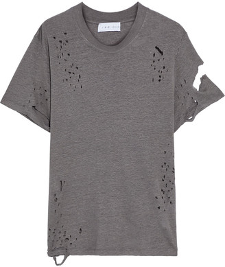 IRO Cooper Distressed Linen-jersey T-shirt