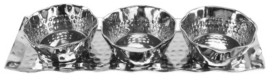 Classic Touch Rectangular Tray with 3 Round Bowls with Wavy Rim