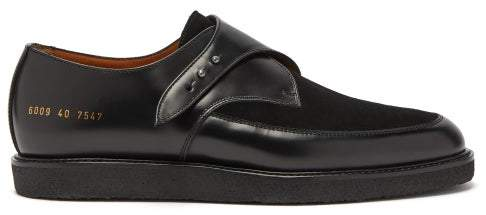 Common Projects Creeper Leather And Suede Monk-strap Shoes - Womens - Black
