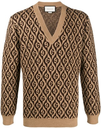 Gucci G rhombus v-neck sweater