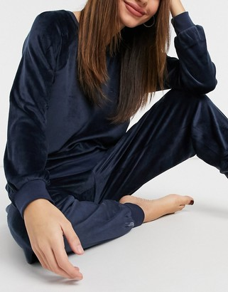 Chelsea Peers recycled poly super soft fleece lounge sweat and jogger set in navy