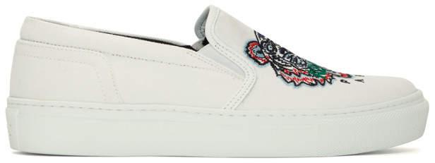 Kenzo White Tiger K-Skate Slip-On Sneakers