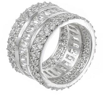 Cz By Kenneth Jay Lane Rhodium Plated Multi CZ 3-Row Eternity Band Ring