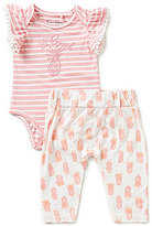 Jessica Simpson Baby Girls Newborn-9 Months Flutter-Sleeve Bodysuit and Printed Pants Set