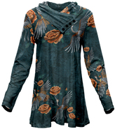 Azalea Teal & Orange Floral Button-Accent Cowl Neck Tunic - Plus Too