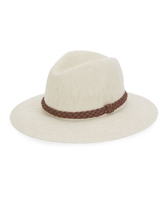 San Diego Hat Company Leather-Trim Woven Fedora