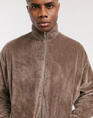 ASOS DESIGN oversized teddy fleece track jacket in mid brown