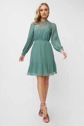 Little Mistress Layla Nile Blue Crochet Pleated Mini Dress