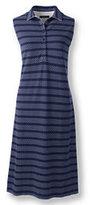 Classic Women's Sleeveless Polo Dress-Midnight Indigo Dots