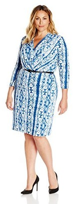 Single Dress Women's Plus Size Faux Wrap Ity Knit Dress with Slider Belt
