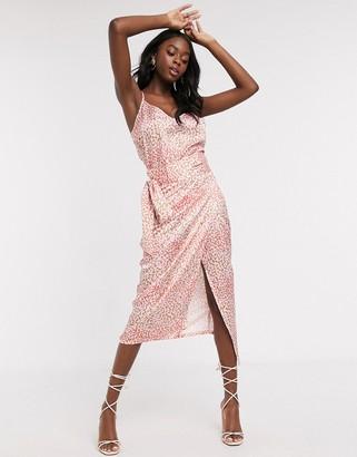 NEVER FULLY DRESSED wrap satin midi skirt in multi leopard