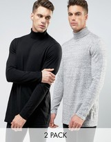 Asos 2 Pack Longline Roll Neck Sweater In Black/Gray SAVE