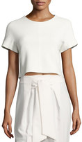 Rebecca Taylor Textured Short-Sleeve Crop Top with Lace Back, White