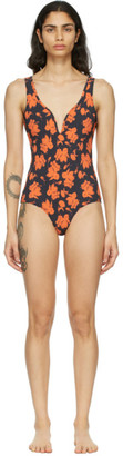 Ganni Black and Red Recycled Matte V-Neck One-Piece Swimsuit
