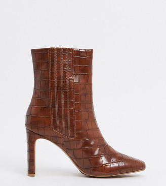 ASOS DESIGN Wide Fit Embark high ankle boots in brown croc