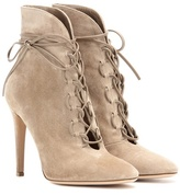 Gianvito Rossi Empire Lace-up Suede Ankle Boots