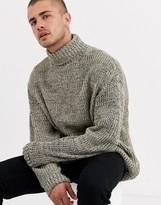 Asos Design DESIGN oversized fisherman rib roll neck sweater oatmeal twist