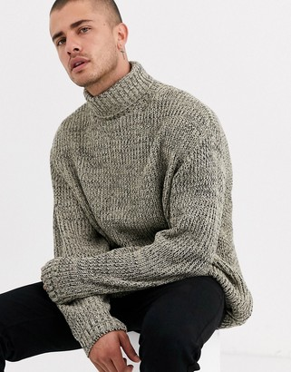 Asos Design DESIGN oversized fisherman rib roll neck sweater oatmeal twist