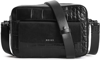 Reiss Archie Croc Embossed Leather Crossbody Bag