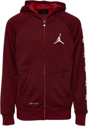 Jordan Raglan Training Full-Zip Hoodie Sweatshirt - Gym Red Heather / Black White