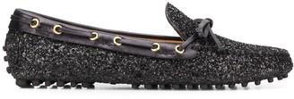 Car Shoe Glitter Embellished Loafers