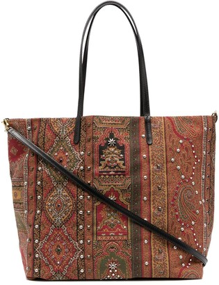 Etro Studded Open-Top Tote Bag