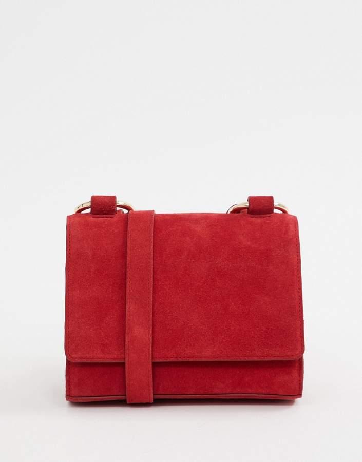 Asos Design DESIGN suede cross body bag with ring strap detail