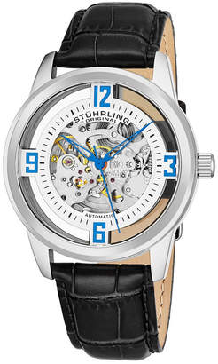 Stuhrling Original Men Dress Skeletonized Automatic Watch, Silver Tone Case on Black Alligator Embossed Genuine Leather Strap, Silver Tone Skeletonized Dial With Blue Accents