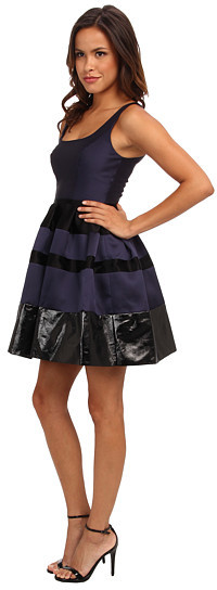 ABS by Allen Schwartz Poptical Jacquard Dress w/ Vegan Leather Trim