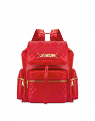 Love Moschino Quilted Backpack With Lettering Logo Woman Red Size U It - (one Size Us)