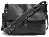 Topshop Studded Calfskin Leather Hobo Bag - Black