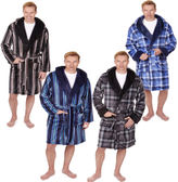 Mens Pierre Roche Soft Fleece Hooded Dressing Gown Robe Stripes Or Check