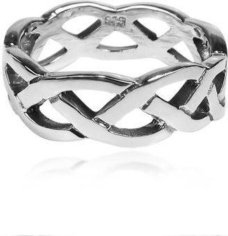 Aeravida Handmade Waves of Celtic Knots Eternity Band Sterling Silver Ring