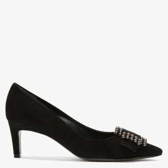Kennel + Schmenger Enny Black Suede Studded Buckle Court Shoes