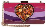 Lanvin Colorblock Enamel Heart Clutch Bag, Pink