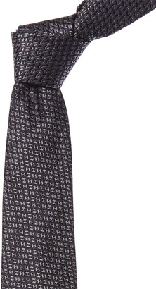 Canali Navy & Grey Silk Tie